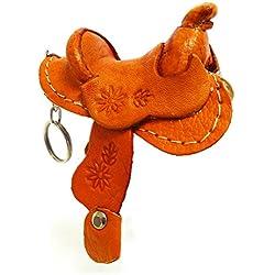 Rodeo Ready Schlüsselanhänger Pferdesattel aus Leder Western Cowboy Leder Schlüsselring Taschenanhänger Keychain - Handarbeit Braun