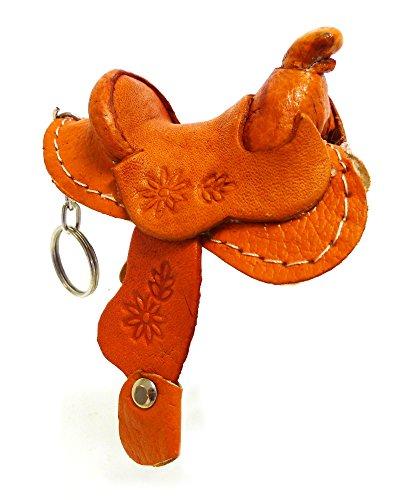 (Rodeo Ready Schlüsselanhänger Pferdesattel aus Leder Western Cowboy Leder Schlüsselring Taschenanhänger Keychain - Handarbeit Braun)
