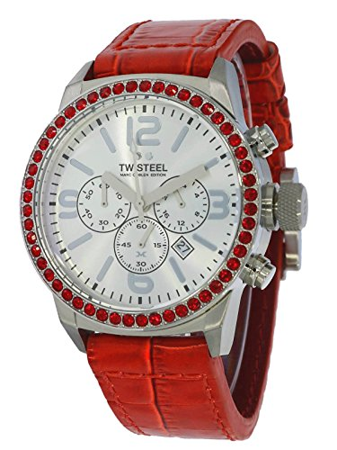 TW Steel Marc Coblen Edition Chrono mit Lederband 42 MM Silver/Red MCPR4