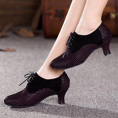 XIAMUO Damen Tanz Schuhe Bauch/Latin/Dance Sneakers/Modern/Swing Schuhe/Salsa/SambaVelvet/funkelnden Glitter/ Lila