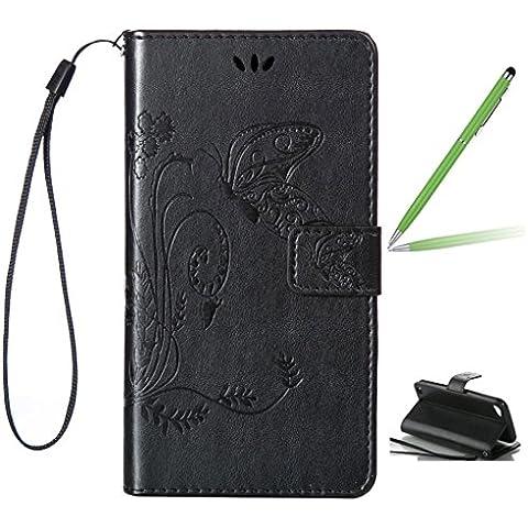 Trumpshop Touch Carcasa Funda Protección para Apple iPod Touch 5 5th Generation + Negro + PU Cuero Caja Protector Billetera con Cierre magnético la Ranura la Tarjeta Choque Absorción