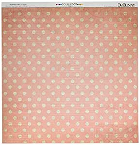 """BoBunny Double Dot Chevron Double-Sided Cardstock 12""""x12""""-Coral"""