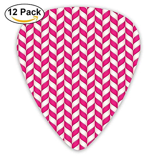 Candy Surface Style Wavy Lines In Vibrant Pink Tones Sweet Cute Yummy Design Guitar Picks 12/Pack Set (Candy Coin)