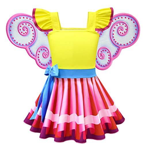 Mädchen Kostüm und Wind Cosplay Kleid Halloween Regenbogen Kleid Gelb Kleidung Gr. 130 cm, gelb ()