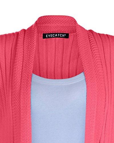 EyeCatch - Colorado Ouvert Devant Tricoté Drapé Cascade Cardigan Taille Unique Corail