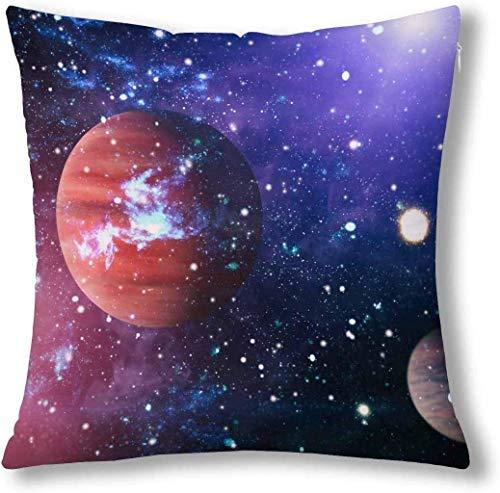 Planetas Estrellas y Galaxias en El Espacio Exterior Decoración Cojín Funda de Almohada con Cremallera...