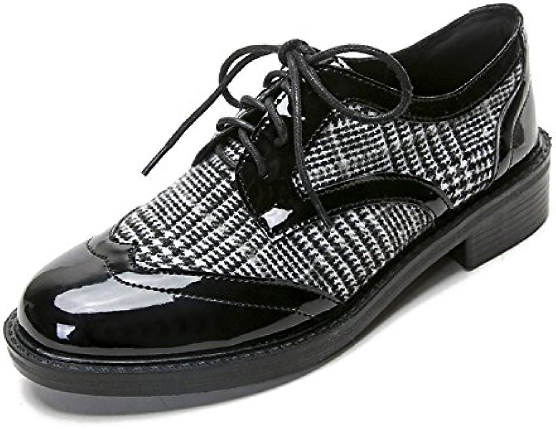 Retro gruesa zapato único colegio la correa de sujeción Oxford poco ,41, zapatos negros.