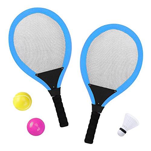 Tennisschläger Badminton Racket Set mit bälle Softball 3 in 1 Spielzeug für Kinder ab 3 4 Jahren (Blau)