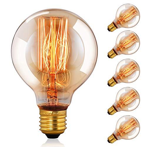 CMYK Vintage Grande lampadina Globo con gabbia di luce filamento della lampadina 40W (vecchio Edison) tappo a vite E27-confezione da 6