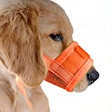 UBEST Dog Muzzle Soft Prevent Biting Chewing Yellow Muzzle