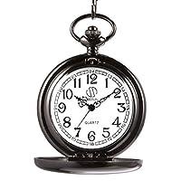 sibosun negro para hombre clásico Lisa Vintage cuarzo reloj de bolsillo con cadena