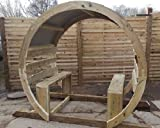 Wooden Garden Circle Arch Moon Gate - Seating Unit
