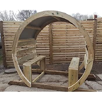 Smileswoodcraft Wooden Garden Circle Arch Moon Gate Amazoncouk