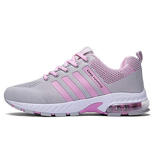 FUSHITON Laufschuhe Damen Sportschuhe Turnschuhe Herren Sneakers Running Shoes Air Sport Atmungsaktiv Straßenlaufschuhe, GreyPink EU 41