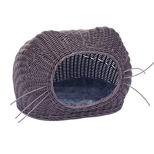 PYapron Rattan Vier Jahreszeiten Komfortable Haustier Nest, Herausnehmbar Und Waschbar, Einfache Welpen Nest Katzenstreu (50 X 35 X 40 cm)