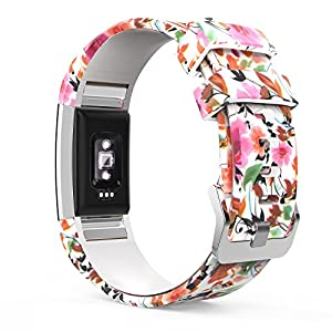 MoKo Watch Band for Fitbit Charge 2, MoKo Soft Silicone Adjustable Replacement Sport Strap Band for 2016 Fitbit Charge 2 Heart Rate + Fitness Wristband, Wrist Length 5.70″-8.26″, Spring Blossoms