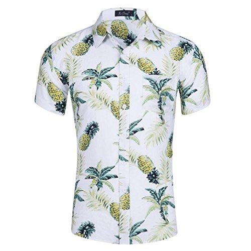Herren Shirt, Sommer Classics Tee Floral Bedruckt Kurzarm Taste gedrückt T-Shirt Sweatshirt Tanktop (L, Weiß)