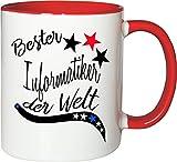 Mister Merchandise Becher Tasse Bester Informatiker der Welt. Kaffee Kaffeetasse liebevoll Bedruckt Beruf Job Arbeit Weiß-Rot