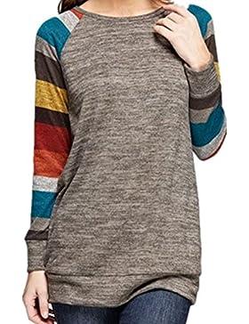 Icocopro felpa sportiva da donna a maniche lunghe in cotone a righe comodo per tunica tops