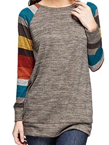 ICOCOPRO Frauen Crewneck Sweatshirt langarm Baumwolle Tunika bequem Gestreifte Tops Damen Lamarmshirt Gr. Large, multi (Wolf Büste)