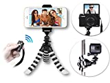 NEW Best Youtube Creator Pod: 3-in-1 HD Mini Flexible Tripod Kit for Any Phone, GoPro or Camera – iPhone X 8 7 6 6S Plus, Samsung S8 etc. – Free Bluetooth Remote – Small GorillaPod w/ Wide Mount