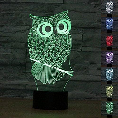 ter 3D Illusion Nachttisch Lampe 7 Farben ändern Schlafen Beleuchtung mit Smart Touch Button Nette Geschenk Warming präsentieren kreative Dekoration ideale Kunst Handwerk (Eule) (Kid Halloween-handwerk-ideen)