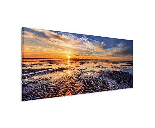 Panoramabild 150x50cm Landschaftsfotografie – Ebbe bei Sonnenuntergang auf Leinwand exklusives Wandbild moderne Fotografie für ihre Wand in vielen Größen