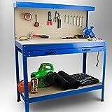 BITUXX® Werktisch Werkbank Arbeitstisch Arbeitsplatte Lochwand Schublade Werkstatt 115 x 55 x 140 cm
