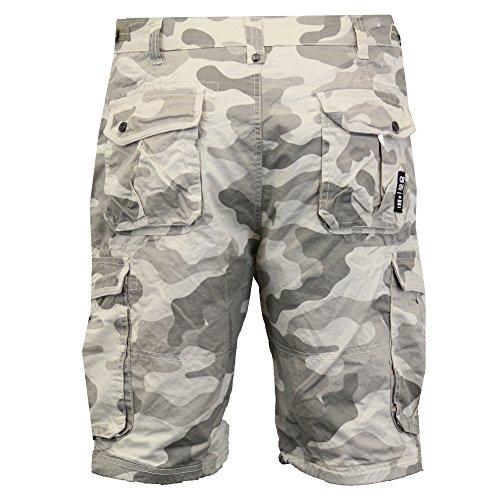 Hommes Crosshatch Camouflage Short Cargo Combat CEINTURE Longueur Genou Jeans Militaire Pierre - FINCAMO