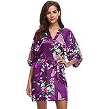 Aibrou 3/4 Albornoz Mujer Corto Kimono Batas Baño,Camison mujer corto Lencería Satén Casa Cama Fiesta