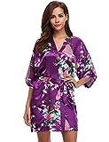 Aibrou kimono femme robe de nuit peignoir satin Fleurs Paon vêtements chemise de nuit cadeau pour la fête mariage