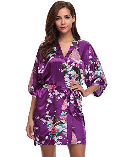 Aibrou Damen Morgenmantel Satin Nachtwäsche Bademantel Kimono Negligee Seidenrobe Schlafanzug Kurz Mit Peacock und Blumen Violett S -