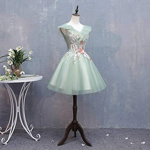 Viktorianischen Mädchen Blumen Kostüm - QAQBDBCKL Hellgrünes kurzes Ballkleid Blume Bestickt Schleierkleid Mittelalterkleid Prinzessin Kostüm viktorianisch
