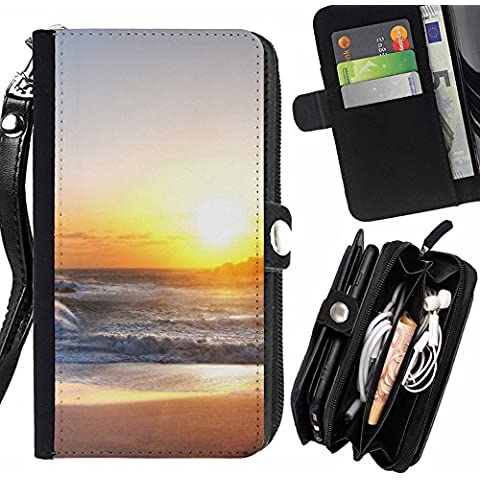 Peach Tech Portafoglio in pelle della Carta di Credito fessure PU Holster Cover in pelle case HTC 10 / HTC 10 Lifestyle / Rough Sea Beach Shining Sun