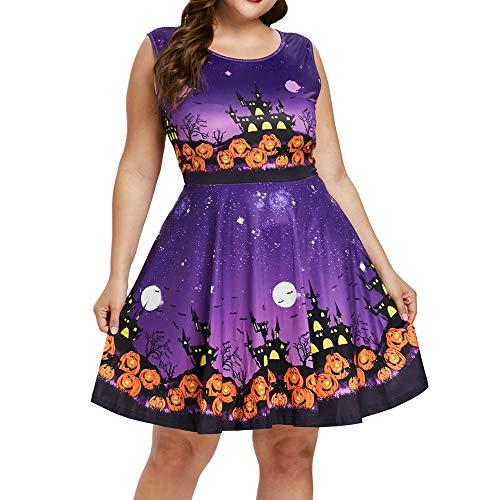 Zottom Ärmelloses großes Halloween-Kleid Frauen-ärmelloses reizvolles dünnes dünnes Halloween-Kürbis-Druck-Partei-Minikleid - Mädchen Minnie Maus Cheerleader Kostüm