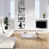 malango® Wandtattoo Dance in The rain Wandspruch Wanddekoration im Regen tanzen Spruch Dekoration Tattoo ca. 45 x 180 cm hellgrau