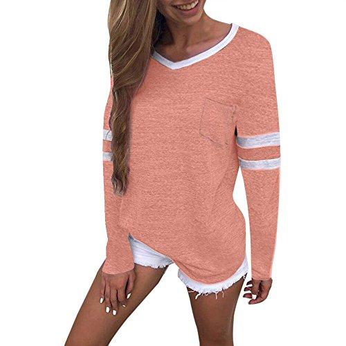 MEIbax Mujeres Camiseta Blusa de Color Sólido de Moda Empalme de Manga  Larga Sexy de Pico 1d2d12bba0ee9