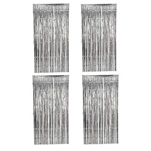 Folie Vorhang,Fransen Vorhänge 4 Packung Lametta Hintergrund Metallic Vorhänge für Geburtstag Hochzeit Foto Booth Dekorationen 1 * 2.5m Silber