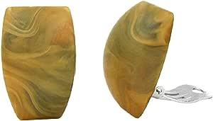 Unbespielt - Orecchini a forma di trapezio, colore kaki, 27x 17mm