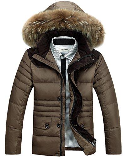 BININBOX® Fashion Herren Daunenjacke mit Fellkapuze Daunenmantel kurz Leicht Parka Winter Warm Steppjacke Braun