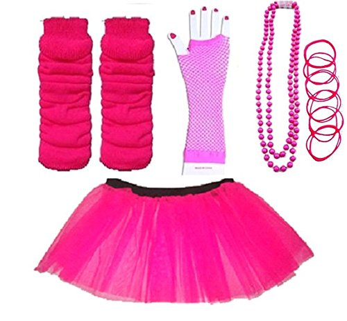 Plus Size Neon 80s Skirt Kit (sizes 16-22)  Available in a range of colours, this popular item includes a skirt with matching leg warmers, mesh fingerless gloves, beads and gummy wristbands.