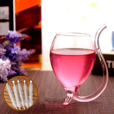 UChic 1PCS Vampir-Wein-Glas 300ml / 10oz kreativer Vampir-Filter-Rotwein-Glas-Wodka-Schuss-Schale Whisky-trinkendes Weinglas-Becher-Saugen freier Saft-Schalen-Becher mit Trinkschlauch-Stroh