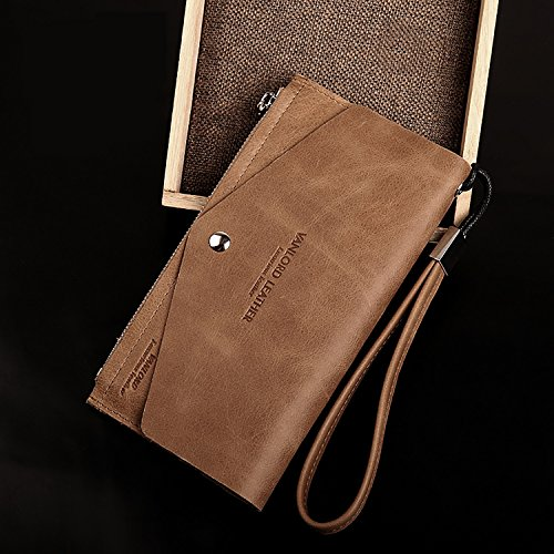 ZXDOP Brieftasche Männer Leder Brieftasche Retro Herren Lange Reißverschluss Herren Leder Brieftasche ( farbe : 3# ) 2#