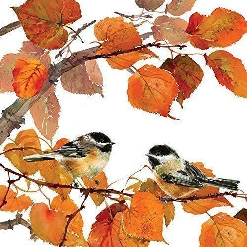 automne oiseaux feuilles Orange 3-ply 20 Papier Serviettes de table 13 \