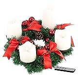 Britesta Tannenkranz: Adventskranz, rot, 4 weiße LED-Kerzen mit bewegter Flamme (Adventkranz)