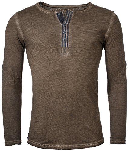 Key Largo Herren Longsleeve Henley langarm T-Shirt mit Knopfleiste Vintage Look slimfit MLS00016 , Grösse:M;Farbe:Braun