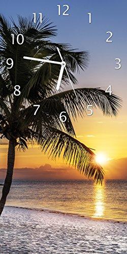 Wallario Design Wanduhr Palme am Strand - Sonnenuntergang über dem Meer aus Acrylglas, Größe 30 x 60 cm (Horizont, Abbildung)