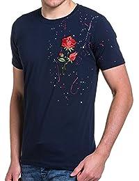 BLZ jeans - Tee-shirt homme navy avec fleur et taches colorées