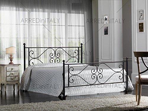 Prodotto Made in Italy ARR118 Letto Matrimoniale in Ferro Colore Nero Grafite con PEDIERA Completo di Rete Ortopedica con DOGHE in Legno 160 X 190 CM