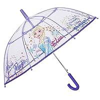 Transparent Little Girl Frozen Umbrella - Disney Elsa Stick Umbrella for Girls - Windproof Dome Brolly in Fiberglass - Purple Details - Automatic Opening - Diameter 74 cm - Perletti